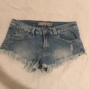 Zara fringe jean shorts